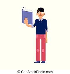 estudar, jovem, isolado, experiência., livro, branca, leitura, homem