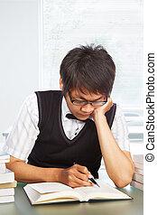 estudar, macho, faculdade, chinês, estudante