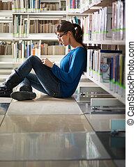 estudar, menina, biblioteca