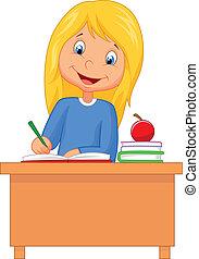 estudar, menina, caricatura