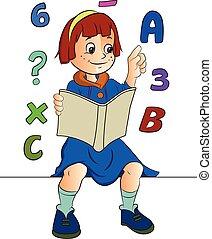 estudar, menina, ilustração, matemática