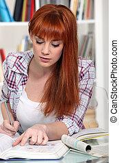 estudar, mulher, exame, jovem