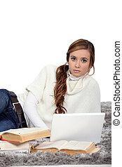 estudar, mulher, jovem, exames