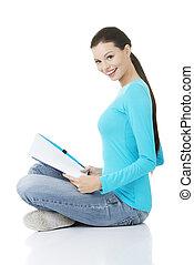 estudar, mulher, jovem, Feliz