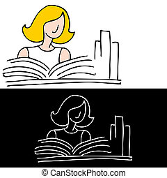 estudar, mulher