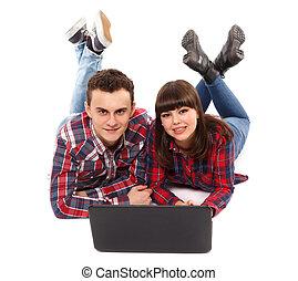 estudar, par adolescente, junto