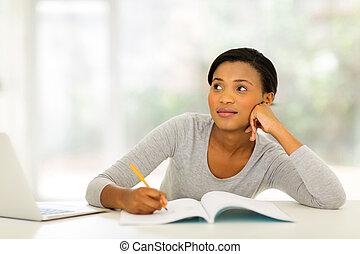 estudar, pensativo, mulher, jovem