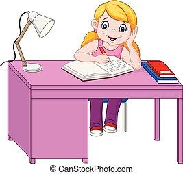 estudar, pequeno, caricatura, menina