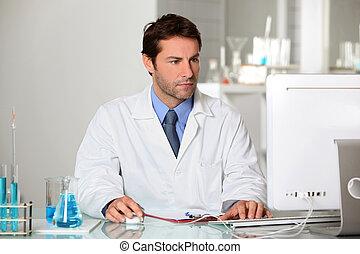 estudar, resultados, técnico laboratório, computador, teste