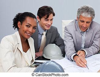 estudar, reunião, planos, arquitetos