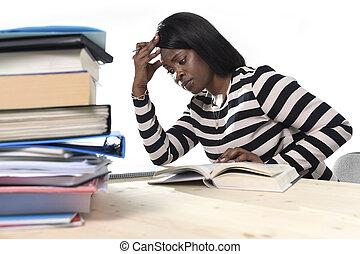 estudar, texto, americano, pretas, estudante, africano, menina, etnicidade