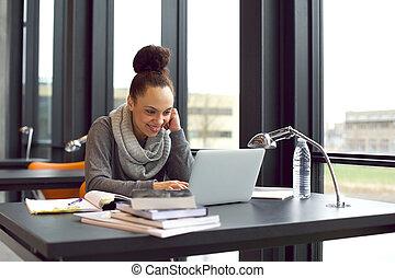 estudar, universidade, laptop, estudante, usando