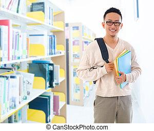 estudiante, al sureste asiático, biblioteca, adulto