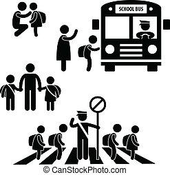 estudiante, alumno, niños, espalda, escuela