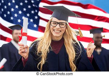 estudiante, celebrar, diploma, graduación, feliz