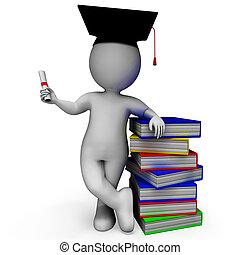estudiante, con, diploma, exposiciones, graduación