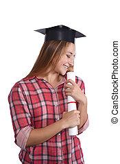 estudiante, con, diploma, y, tapa graduación