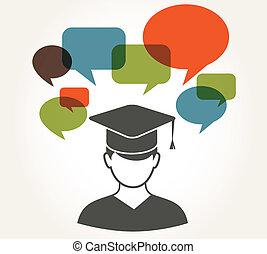 estudiante, con, discurso, burbujas
