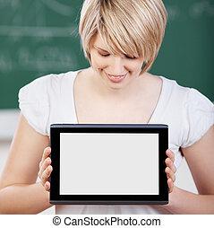 estudiante, el exhibir, el, pantalla, de, ella, tablet-pc