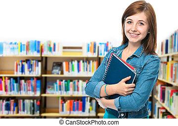 estudiante, en, campus, biblioteca