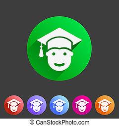 estudiante, en, tapa graduación, plano, icono