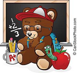 estudiante, escuela, caricatura, oso, teddy