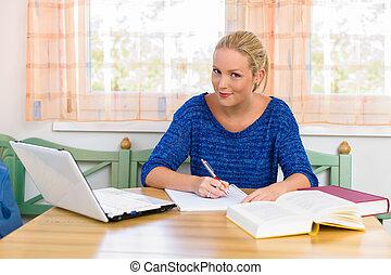 estudiante, estudiar, para, ella, grado