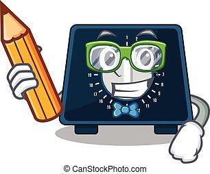 estudiante, estudio, carácter, hogar, avisador, listo, ...