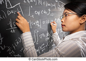 estudiante femenino, trabajo encendido, ecuación
