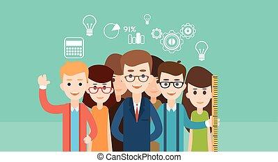 estudiante, grupo, colegiales, educación