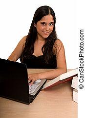 estudiante, hacer, deberes