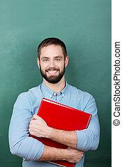 estudiante masculino, posición, en, aula