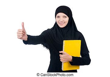 estudiante, musulmán, libros, joven, hembra