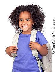 estudiante, niña, con, hermoso, peinado