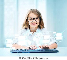 estudiante, niña, con, teclado, y, virtual, pantalla