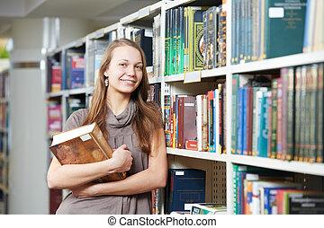 estudiante, niña, libros, joven, biblioteca