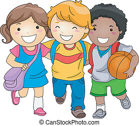 estudiante, niños, amigos