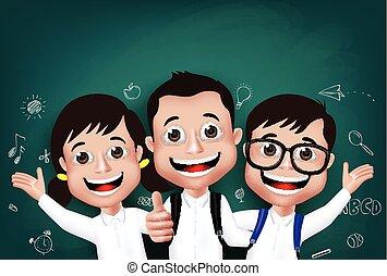 estudiante, niños, niños, caracteres