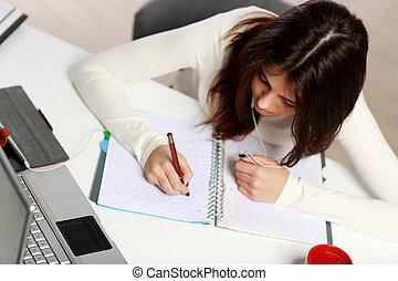 estudiante, pensativo, deberes, joven, ella