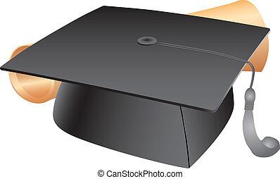 estudiante, sombrero, y, diploma