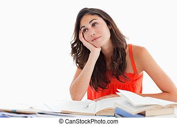 estudiante, sonriente, ella, deberes