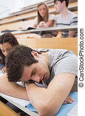 estudiante, sueño, en, el, aula