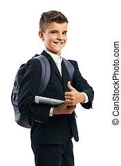 estudiante, tableta, actuación, arriba, pulgares, tenencia