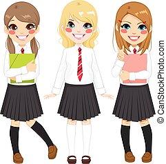 estudiante, uniforme, niñas