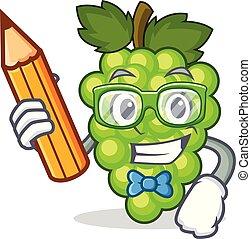 estudiante, uvas verdes, carácter, caricatura