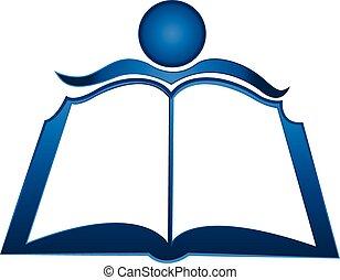 estudiante, y, libro, logotipo