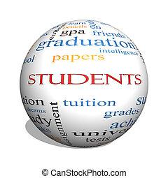 estudiantes, 3d, esfera, palabra, nube, concepto