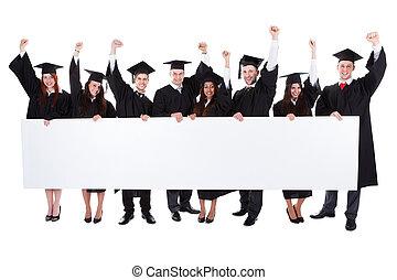 estudiantes, actuación, graduado, alegre, bandera, excitado,...