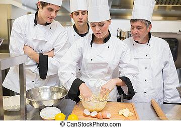 estudiantes, aprendizaje, masa, culinario, mezcla, cómo