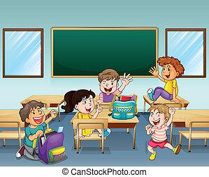 estudiantes, aula, dentro, feliz